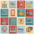 Mobile banking icons flat line Royalty Free Stock Photo