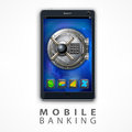 Mobile banking safety vector illustration Royalty Free Stock Photo