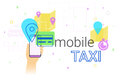 Mobile booking taxi cab on smartphone concept illustration