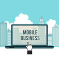 Mobile business city laptop concept vector illustration of Royalty Free Stock Images