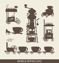 Mobile cafe set of in retro style Stock Images