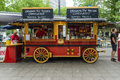 Mobile cafes in the form of old wagon berlin june on famous shopping street west berlin kurfuerstendamm Royalty Free Stock Photography