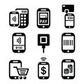 Mobile or cell phone payments, paying online with smartphone icons