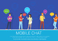 Mobile chat flat concept vector illustration