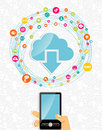 Mobile cloud computing network concept diagram hand holding smart phone vector illustration layered for easy manipulation and Stock Photo