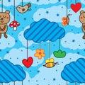 Mobile cloud hang cute seamless pattern