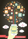 Mobile cloud service infographic vector Royalty Free Stock Photography