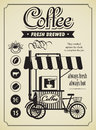 Mobile coffee shop retro banner with a Stock Photography