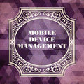 Mobile device management concept vintage design purple background made of triangles Stock Photo