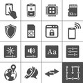 Mobile device settings icons tablet pc and smart phone control buttons simplus series vector illustration Royalty Free Stock Image