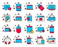 Mobile Devices line icons. Laptop, SSD and HDD. Vector Royalty Free Stock Photo
