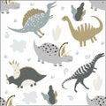 Funny Dinosaurs. Kids seamless pattern