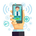 Mobile doctor, personalized medicine consultant on smartphone screen vector healthcare concept