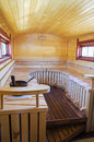 Mobile finnish sauna interior on wheels Royalty Free Stock Image