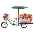 Mobile flower bike vector flat illustration