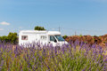 Mobile home in French lavender fields Royalty Free Stock Photography
