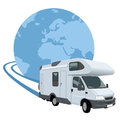 Mobile home traveling around the world fast Stock Photo