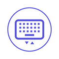 Mobile keyboard circular line icon. Round sign. Flat style vector symbol.