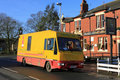 Mobile Library Van outside a Village Pub. Royalty Free Stock Images