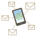 Mobile mail concept Stock Photography