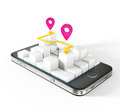 Mobile map white background Stock Photo