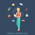 Mobile marketing strategy vector flat style concept