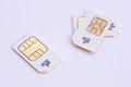 Mobile memory sim cards group of subscriber identity module g Stock Photo