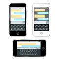 Mobile messenger chat, hands with smartphone sending a message. Isometric flat design, vector illustration. Smartphone