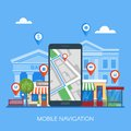 Mobile navigation concept vector illustration. Smartphone with gps city map on screen and route. Royalty Free Stock Photo