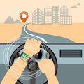 Mobile navigator on the smart watch in the car