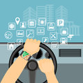 Mobile navigator on the smart watch in the car and icons