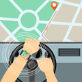 Mobile navigator on the smart watch in the car and map