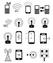 Mobile network icons set of data related in black Stock Images