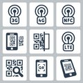 Mobile network and qr code icons related vector set Royalty Free Stock Image