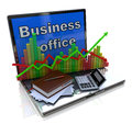 Mobile office and banking concept in the design of the information related to economy Royalty Free Stock Image