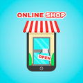 Mobile online shop vector flat icon illustration. E-commerce, digital market, online purchase, online shopping