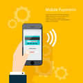Mobile Payments. Man holding phone. Vector illustration of moder