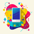 Mobile phone on abstract colorful spotted background with differ different elements flat design Royalty Free Stock Photo