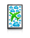 Mobile phone with airplane and blue clouds Stock Images