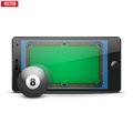 Mobile phone with billiard ball and field on the