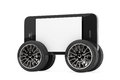 Mobile phone with blank screen on wheels a white background Stock Photo