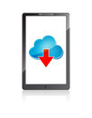 Mobile phone with blue cloud and red arrow Royalty Free Stock Photography