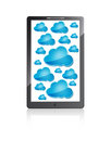 Mobile phone with blue clouds Royalty Free Stock Photo