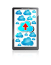 Mobile phone with blue clouds and upload arrow Stock Images