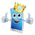 Mobile phone cartoon king illustration of a character wearing a gold crown and giving a double thumbs up Royalty Free Stock Images