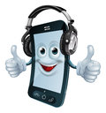 Mobile phone cartoon man dj headphones giving thumbs up concept music phone app similar Royalty Free Stock Photography