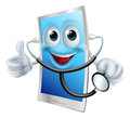 Mobile phone character holding a stethoscope illustration of Stock Photo