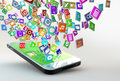 Mobile phone with cloud of application icons lots apps flying around Stock Images