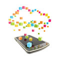 Mobile phone cloud computing concept Stock Image