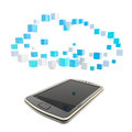 Mobile phone cloud computing concept under the technology symbol made of glossy cubes isolated on white Stock Images
